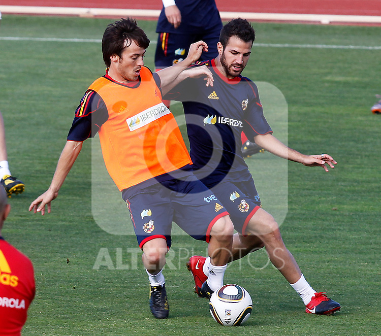 Spain's David Jimenez Silva (l) and Cesc Fabregas during training session.June 10, 2010. (ALTERPHOTOS/Acero)