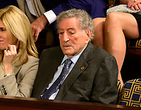 Singer Tony Bennett, a guest of Speaker of the United States House of Representatives Nancy Pelosi (Democrat of California), sits in the gallery as the 116th Congress convenes for its opening session in the US House Chamber of the US Capitol in Washington, DC on Thursday, January 3, 2019. Photo Credit: Ron Sachs/CNP/AdMedia