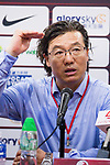 Coach Kim Pan Gon of Hong Kong during the press conference after the International Friendly match between Hong Kong and Jordan at Mongkok Stadium on June 7, 2017 in Hong Kong, China. Photo by Cris Wong / Power Sport Images