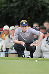 23rd September, 2006. .European Ryder Cup Team player Luke Donald lines up his putt on the 2nd green during the afternoon fourball session of the second day of the 2006 Ryder Cup at the K Club in Straffan, County Kildare in the Republic of Ireland..Photo: Eoin Clarke/ Newsfile.