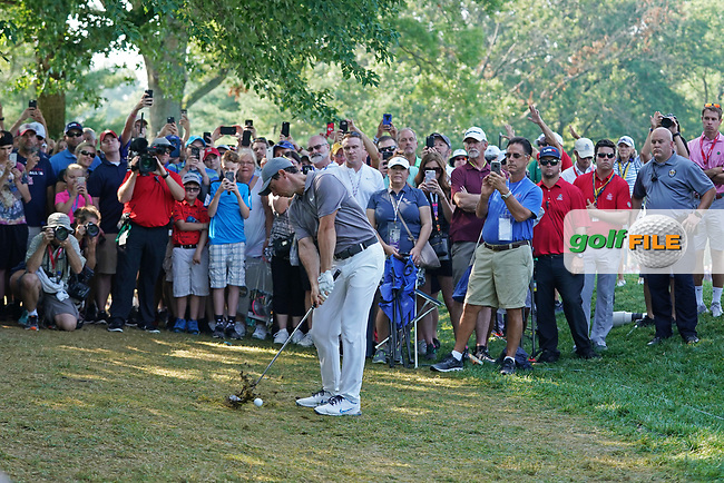 Rory McIlroy (NIR) hits out of the rough on the 18th hole during the second round of the 100th PGA Championship at Bellerive Country Club, St. Louis, Missouri, USA. 8/11/2018.<br /> Picture: Golffile.ie | Brian Spurlock<br /> <br /> All photo usage must carry mandatory copyright credit (© Golffile | Brian Spurlock)