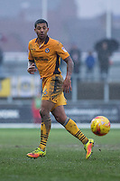 Joss Labadie of Newport County during the abandoned Sky Bet League 2 match between Newport County and Morecambe at Rodney Parade, Newport, Wales on 10 December 2016. Photo by Mark  Hawkins.