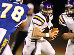 SIOUX FALLS, SD - OCTOBER 11:  Logan Gabriel #2 From Watertown looks for running room against O'Gorman in the second quarter of their game Friday night at O'Gorman.  (Photo by Dave Eggen/Inertia)