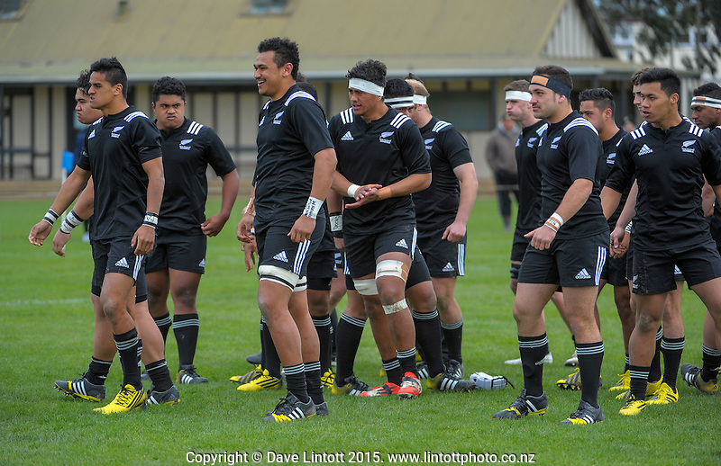 The NZ team prepare to perform a haka during the rugby union match between New Zealand Secondary Schools and NZ Schools Barbarians at PNBHS, Palmerston North, New Zealand on Saturday, 19 September 2015. Photo: Dave Lintott / lintottphoto.co.nz