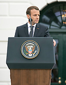 President Emmanuel Macron of Francevmakes remarks at an arrival ceremony in his honor on the South Lawn of the White House in Washington, DC on Tuesday, April 24, 2018.<br /> Credit: Ron Sachs / CNP
