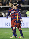 FC Barcelona's Leo Messi (r) and Neymar Jr celebrate goal during La Liga match. March 3,2016. (ALTERPHOTOS/Acero)