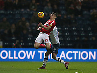 Middlesbrough's Jordan Hugill controls the ball under pressure from Preston North End's Jordan Storey<br /> <br /> Photographer Stephen White/CameraSport<br /> <br /> The EFL Sky Bet Championship - Preston North End v Middlesbrough - Tuesday 27th November 2018 - Deepdale Stadium - Preston<br /> <br /> World Copyright © 2018 CameraSport. All rights reserved. 43 Linden Ave. Countesthorpe. Leicester. England. LE8 5PG - Tel: +44 (0) 116 277 4147 - admin@camerasport.com - www.camerasport.com