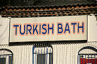 Sign for a Turkish bath in the Sultanahmet area of Istanbul, Turkey