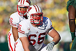 Wisconsin Badgers offensive lineman/center Peter Konz (66) during the 2012 Rose Bowl NCAA football game in Pasadena, California on January 2, 2012. The Ducks won 45-38. (Photo by David Stluka)