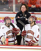 Jessica Martino (BC - 26), Courtney Kennedy (BC - Assistant Coach), Alison Szlosek (BC - 8) - The Boston College Eagles and the visiting University of New Hampshire Wildcats played to a scoreless tie in BC's senior game on Saturday, February 19, 2011, at Conte Forum in Chestnut Hill, Massachusetts.