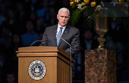 Mar. 4, 2015; Governor Mike Pence, speaks during a tribute ceremony in the Purcell Pavilion to honor the life of the late President Emeritus Rev. Theodore M. Hesburgh, C.S.C. (Photo by Barbara Johnston/University of Notre Dame)