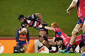 Sikeli Nabou gets tackled after making a big break downfield. Mitre 10 Cup rugby game between Counties Manukau Steelers and Tasman Mako, played at Navigation Homes Stadium Pukekohe on Friday September 6th 2019. Tasman won the game 36 - 0 after leading 24 - 0 at halftime.<br /> Photo by Richard Spranger.