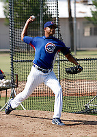 Angel Guzman / AZL Cubs, pitching a simulated game as part of his rehab work at the Cubs training facility in Mesa, AZ..Photo by:  Bill Mitchell/Four Seam Images