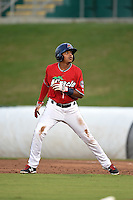 Fort Myers Miracle second baseman Aderlin Mejia (13) leads off first during a game against the Tampa Yankees on April 15, 2015 at Hammond Stadium in Fort Myers, Florida.  Tampa defeated Fort Myers 3-1 in eleven innings.  (Mike Janes/Four Seam Images)
