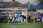 Wealdstone 0 Newport County 0, 17/03/2012. St Georges Stadium, FA Trophy Semi Final. Visiting goalkeeper Glyn Thompson catching a cross at St Georges Stadium, home ground of Wealdstone FC, as the club played host to Newport County in the semi-final second leg of the F.A. Trophy. The game ended in a goalless draw, watched by a capacity crowd of 2,092 which meant the visitors from Wales progressed by three goals to one to the competition's final at Wembley, where they would meet York City. The F.A. Trophy was the premier cup competition for non-League clubs in England and Wales affiliated to the Football Association. Photo by Colin McPherson.