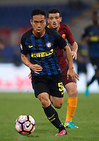 Calcio, Serie A: Roma vs Inter. Roma, stadio Olimpico, 2 ottobre 2016.<br /> FC Inter's Yuto Nagatomo in action during the Italian Serie A football match between Roma and FC Inter at Rome's Olympic stadium, 2 October 2016.<br /> UPDATE IMAGES PRESS/Isabella Bonotto