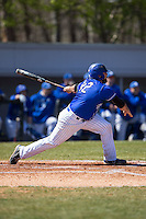Mike Vigliarolo (42) of the Saint Louis Billikens follows through on his swing against the Davidson Wildcats at Wilson Field on March 28, 2015 in Davidson, North Carolina. (Brian Westerholt/Four Seam Images)
