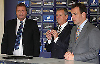 Campbell Ogilvie showing the ball drawn by Derek Johnstone. Scottish FA President Campbell Ogilvie joined by former Rangers and Scotland striker Derek Johnstone and Kristof Fahy, Chief Marketing Officer at William Hill, in conducting the draw for Round 3 of the William Hill Scottish Cup which took place at Hamilton Park Racecourse on 1.10.12