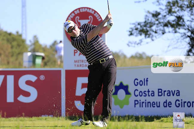 Kenneth Ferrie (ENG) tees off the par3 5th tee during Thursday's Round 1 of the 2014 Open de Espana held at the PGA Catalunya Resort, Girona, Spain. Wednesday 15th May 2014.<br /> Picture: Eoin Clarke www.golffile.ie