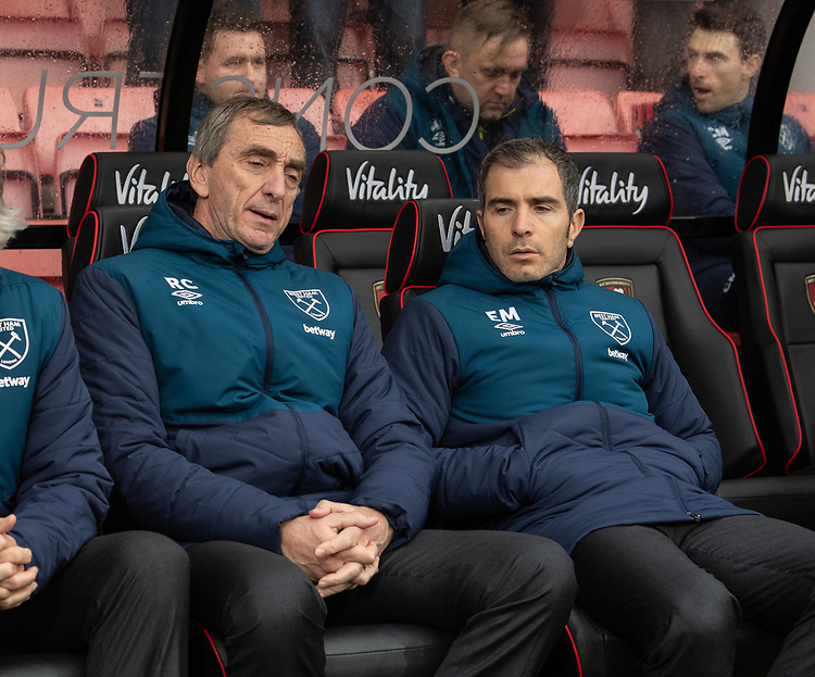 West Ham United Assistant coach Rub&eacute;n Cousillas (left) and Second assistant coach Enzo Maresca (right) <br /> <br /> Photographer David Horton/CameraSport<br /> <br /> The Premier League - Bournemouth v West Ham United - Saturday 19 January 2019 - Vitality Stadium - Bournemouth<br /> <br /> World Copyright &copy; 2019 CameraSport. All rights reserved. 43 Linden Ave. Countesthorpe. Leicester. England. LE8 5PG - Tel: +44 (0) 116 277 4147 - admin@camerasport.com - www.camerasport.com