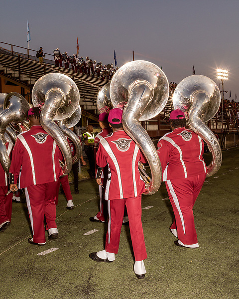 September 21, 2017. Durham, North Carolina.<br /> <br /> North Carolina Central University Sound Machine Marching Band leaves the field after opening the game.<br /> <br /> The NCCU Eagles won a home game against the the South Carolina State Bulldogs 33-28 at O'Kelly–Riddick Stadium.