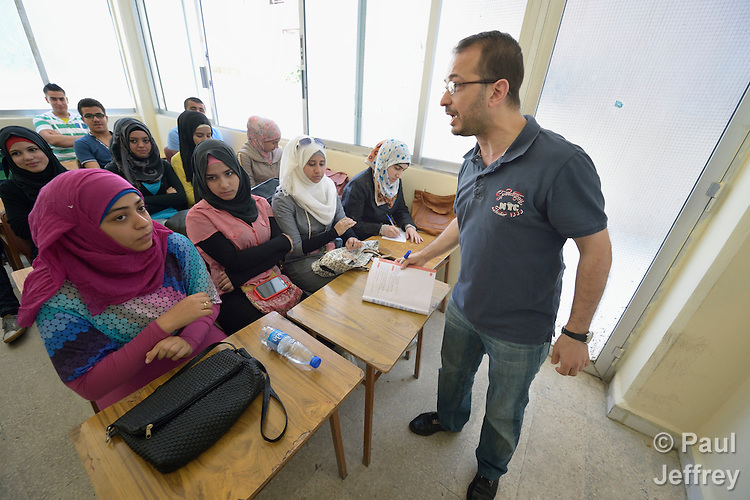 Yasar Oudeh teaches in a school in Saida, Lebanon, run by the Department of Service for Palestinian Refugees of the Middle East Council of Churches. The school provides education for Syrian refugee youth. Lebanon hosts some 1.5 million refugees from Syria. This school is supported by the ACT Alliance.