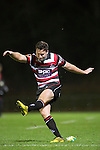 Joe Reynolds kicks for goal. The game of Three Halves, a pre-season warm-up game between the Counties Manukau Steelers, Northland and the All Blacks, played at ECOLight Stadium, Pukekohe, on Friday August 12th 2016. Photo by Richard Spranger.