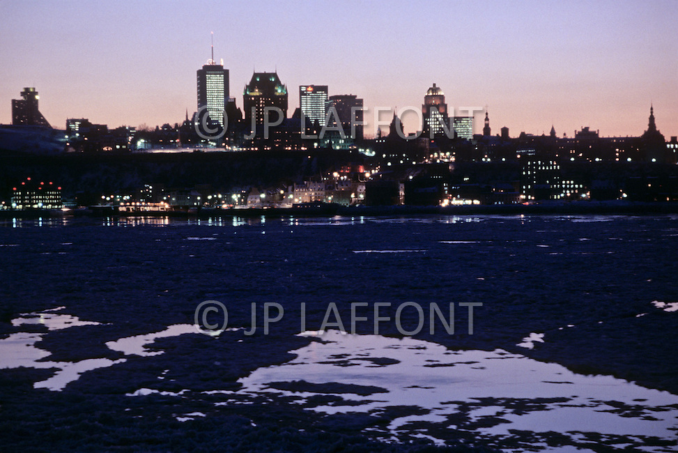 Quebec, Canada, March 1978. Daily life in Quebec. Landscape of Quebec City at Sunset.