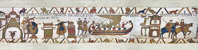11th Century Medieval Bayeux Tapestry -Scene 23 - Touching 2 reliquires Harold swears fealty to William.Scene 24 - Harold sails back to England from Normandy