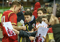 Wales U20's Ben Jones signs autographs after the match<br /> <br /> Photographer Alex Dodd/CameraSport<br /> <br /> RBS Six Nations U20 Championship Round 4 - Wales U20s v Ireland U20s - Saturday 11th March 2017 - Parc Eirias, Colwyn Bay, North Wales<br /> <br /> World Copyright &copy; 2017 CameraSport. All rights reserved. 43 Linden Ave. Countesthorpe. Leicester. England. LE8 5PG - Tel: +44 (0) 116 277 4147 - admin@camerasport.com - www.camerasport.com