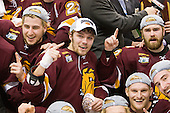 Mike Seidel (Duluth - 17), Kyle Schmidt (Duluth - 7), David Grun (Duluth - 27), Jack Connolly (Duluth - 12), ? - The University of Minnesota-Duluth Bulldogs celebrated their 2011 D1 National Championship win on Saturday, April 9, 2011, at the Xcel Energy Center in St. Paul, Minnesota.