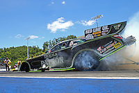 Jun 18, 2016; Bristol, TN, USA; NHRA funny car driver Alexis DeJoria during qualifying for the Thunder Valley Nationals at Bristol Dragway. Mandatory Credit: Mark J. Rebilas-USA TODAY Sports