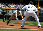 June 08, 2008 - Denver, CO.   Milwaukee's Gabe Kapler dives into 3rd base during action between the Milwaukee Brewers and the Colorado Rockies...Brewers defeat the Rockies 3-2...Larry Clouse/Cal Sport Media