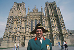 Wine in England, Wells Somerset 1989. Town Crier Fred Gibbons. There has been a town crier in Wells since 1348. 1980s UK