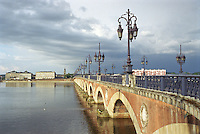 Pont de Pierre crossing the Garonne River in the City of Bordeaux, France