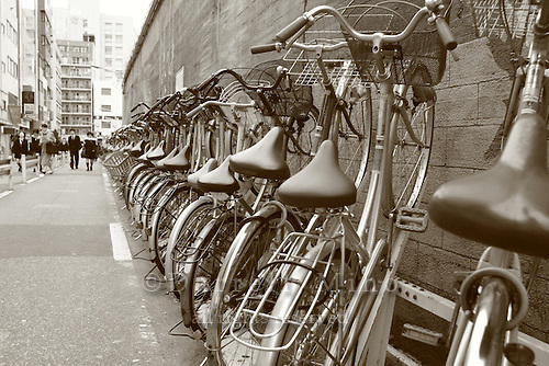 Mar 7, 2006; Tokyo, JPN; Ryogoku.School kids walk by a row of bicycles just outside the Ryogoku station...Photo credit: Darrell Miho