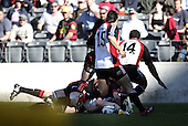 Andrew Van der Heijden scores the Steelers only try during the Ranfurly Shield challenge against Canterbury at Jade Stadium on the 10th of September 2006. Canterbury won 32 - 16.