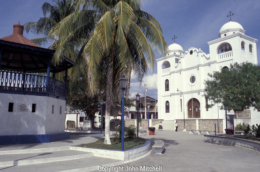 Main square in the town of Flores, Lake Peten Itza, El Peten, Guatemala