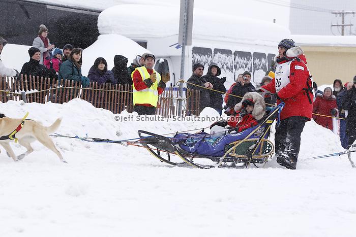 Michelle Phillips Saturday, March 3, 2012  Ceremonial Start of Iditarod 2012 in Anchorage, Alaska.