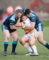 Picture by Allan McKenzie/SWpix.com - 25/03/2018 - Rugby League - Betfred Championship - Batley Bulldogs v Featherstone Rovers - Heritage Road, Batley, England - Pat Walker is tackled by Connor Farrell and Frankie Mariano.