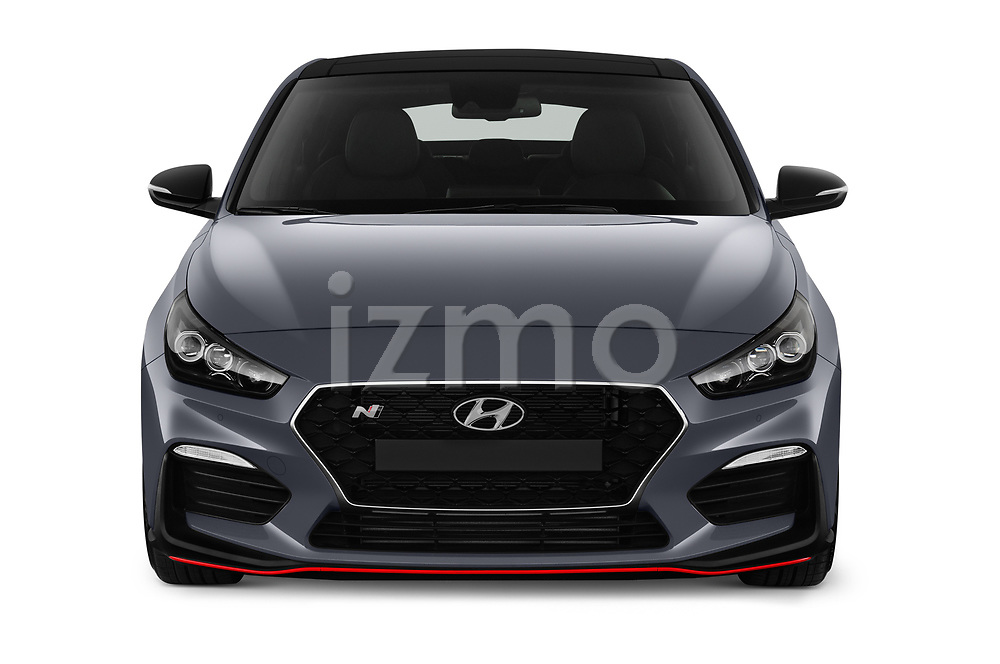 Car photography straight front view of a 2019 Hyundai i30-Fastback-N Performance-Pack 5 Door Hatchback Front View