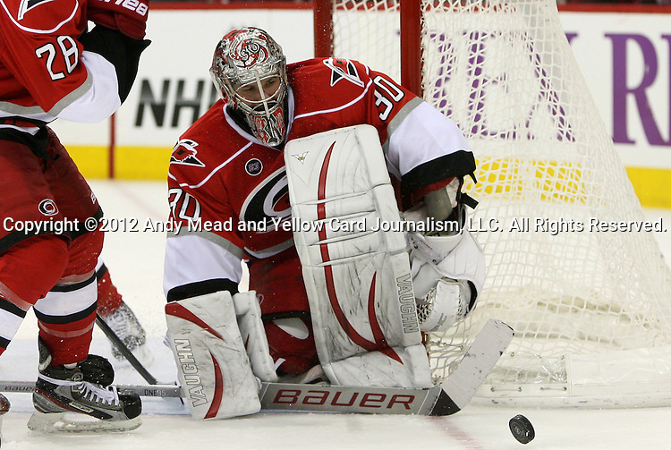 04 February 2012: Carolina's Cam Ward. The Carolina Hurricanes defeated the Los Angeles Kings 2-1 at the RBC Center in Raleigh, North Carolina in a 2011-2012 National Hockey League regular season opening game.
