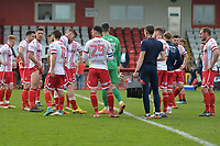 Stevenage at the final whistle during Stevenage vs Cambridge United, Sky Bet EFL League 2 Football at the Lamex Stadium on 14th April 2018