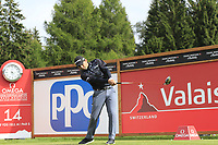 Fabrizio Zanotti (PAR) tees off the 14th tee during Sunday's Final Round of the 2017 Omega European Masters held at Golf Club Crans-Sur-Sierre, Crans Montana, Switzerland. 10th September 2017.<br /> Picture: Eoin Clarke | Golffile<br /> <br /> <br /> All photos usage must carry mandatory copyright credit (&copy; Golffile | Eoin Clarke)