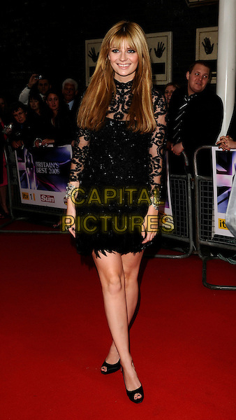 MISCHA BARTON.The Britain's Best 2008 Ceremony, The London Studios, South Bank, London, England..May 18th, 2008.full length black dress lace sheer  pattern feathers silver bracelets .CAP/CAN.©Can Nguyen/Capital Pictures.