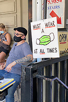 NEW YORK, NY- JUNE 22: Astor Place Hairstylists Open for Business On Day One of Phase 2 Reopening during the coronavirus pandemic in New York City on June 22, 2020. <br /> CAP/MPI/RMP<br /> ©RMP/MPI/Capital Pictures