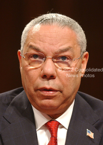 Washington, D.C. - March 23, 2004 -- United States Secretary of State Colin L. Powell testifies at the hearing of the National Commission on Terrorist Attacks Upon the United States in Washington, DC on March 23, 2004.<br /> Credit: Ron Sachs / CNP<br /> [RESTRICTION: No New York Metro or other Newspapers within a 75 mile radius of New York City]