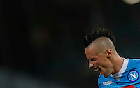 Napoli's Marek Hamsik  celebrates after scoring during the Europa  League Group D soccer match against Brugge  at the San Paolo  Stadium in Naples September 17, 2015
