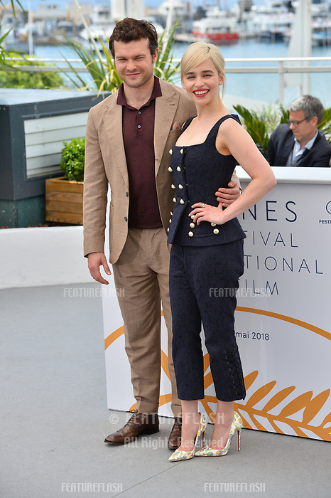 Alden Ehrenreich &amp; Emilia Clarke at the photocall for &quot;Solo: A Star Wars Story&quot; at the 71st Festival de Cannes, Cannes, France 15 May 2018<br /> Picture: Paul Smith/Featureflash/SilverHub 0208 004 5359 sales@silverhubmedia.com