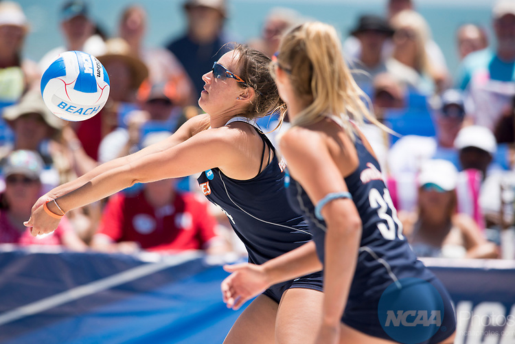 GULF SHORES, AL - MAY 07: Anika Wilson (14) of Pepperdine University returns a serve during the Division I Women's Beach Volleyball Championship held at Gulf Place on May 7, 2017 in Gulf Shores, Alabama. The University of Southern California defeated Pepperdine 3-2 to claim the national championship. (Photo by Stephen Nowland/NCAA Photos via Getty Images)